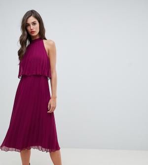 Плиссированное платье миди с американской проймой ASOS DESIGN Tall