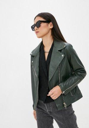 Куртка кожаная Ne.Ra Collezioni. Цвет: зеленый