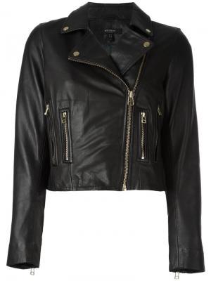 Укороченная кожаная куртка Muubaa. Цвет: чёрный