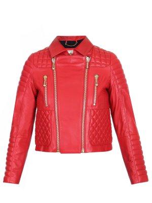 Куртка стеганая кожаная Philipp Plein. Цвет: красный