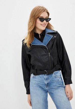 Куртка кожаная Mavi ZIP UP BIKER. Цвет: черный