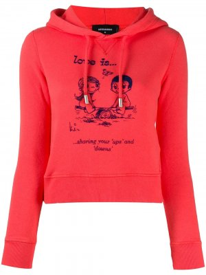 Cropped slogan hooded sweatshirt Dsquared2. Цвет: красный