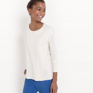 Пуловер с круглым вырезом из хлопка/шелка La Redoute Collections. Цвет: черный