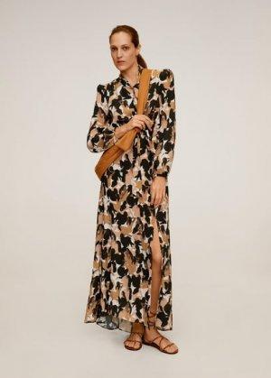 Длинное платье с принтом - Mancha-a Mango. Цвет: карамель