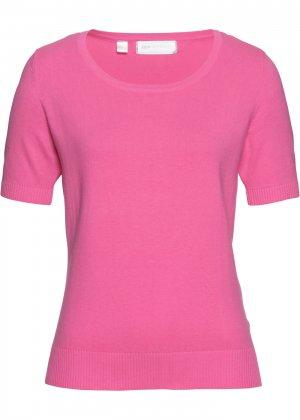 Пуловер с коротким рукавом bonprix. Цвет: ярко-розовый