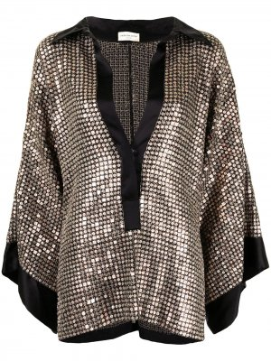 Блузка с эффектом металлик Dries Van Noten Pre-Owned. Цвет: коричневый
