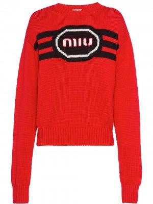 Logo-intarsia jumper Miu. Цвет: красный
