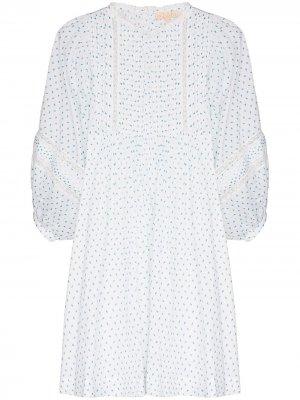 Платье мини с кружевом и цветочным принтом byTiMo. Цвет: белый