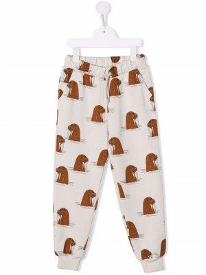 Walrus-print organic cotton track pants Mini Rodini. Цвет: серый