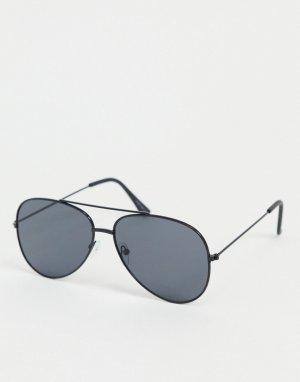 Круглые солнцезащитные очки в черной оправе -Черный Only & Sons