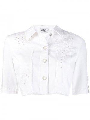 Укороченная джинсовая куртка Liu Jo. Цвет: белый