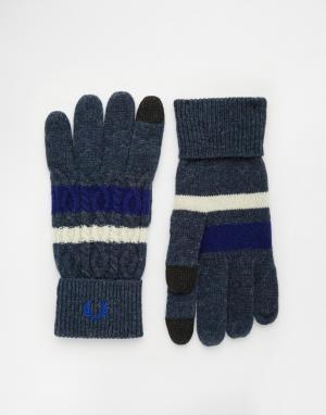 Перчатки для сенсорных гаджетов с узором косичка Fred Perry. Цвет: темно-синий