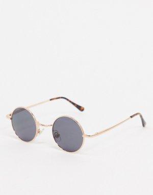 Круглые солнцезащитные очки в золотистой оправе -Золотой River Island