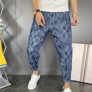 Мужской Зауженные джинсы короткий SHEIN. Цвет: темно-синий