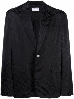 Жаккардовый пиджак с логотипом Balenciaga. Цвет: черный