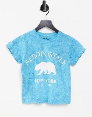 Зеленая выбеленная футболка с надписью NY и принтом медведя -Зеленый Aeropostale