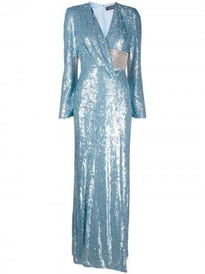 Платье с запахом и пайетками Jenny Packham. Цвет: синий