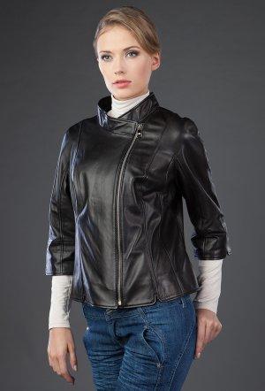 Черная кожаная куртка с рукавами три четверти VESUTTI. Цвет: черный