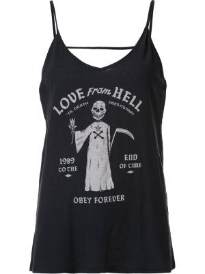Майка Love From Hell Obey. Цвет: чёрный
