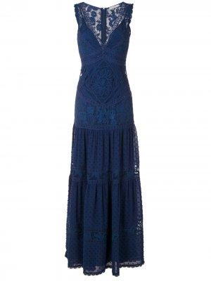 Кружевное ярусное платье Yana Martha Medeiros. Цвет: синий