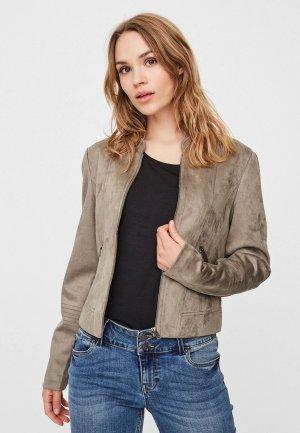 Куртка кожаная Vero Moda. Цвет: серый