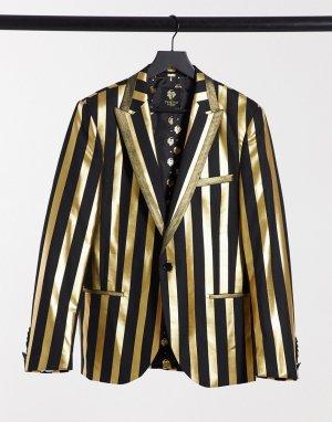 Черный пиджак с золотистыми полосами -Золотой Twisted Tailor