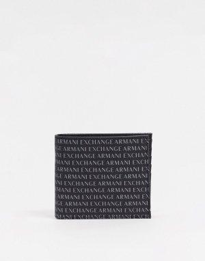 Черный бумажник со сплошным принтом логотипа -Черный цвет Armani Exchange