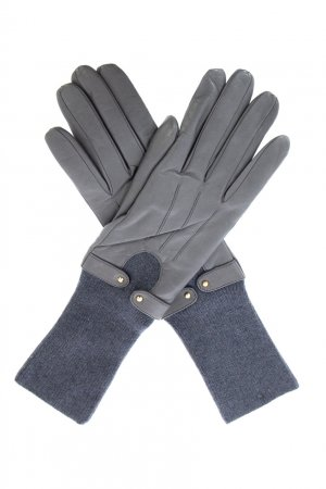 Серые перчатки с трикотажными манжетами Sermoneta Gloves. Цвет: серый
