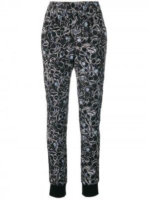 Зауженные брюки с принтом A.F.Vandevorst. Цвет: черный
