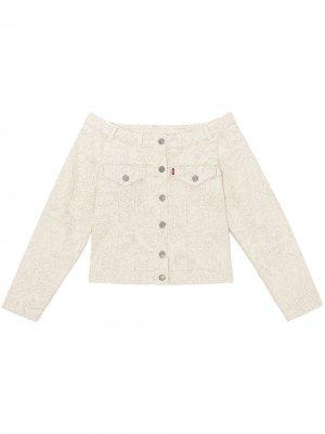 Джинсовая куртка с принтом из коллаборации Levis GANNI. Цвет: нейтральные цвета