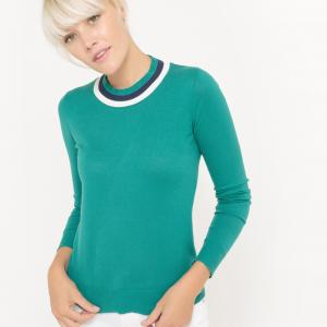 Пуловер с круглым вырезом La Redoute Collections. Цвет: коралловый,темно-синий