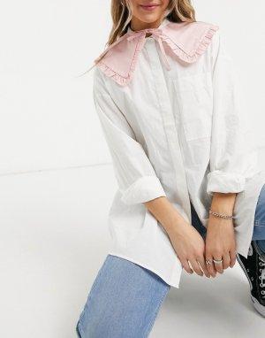 Воротник пастельного розового цвета с оборками -Розовый ASOS DESIGN