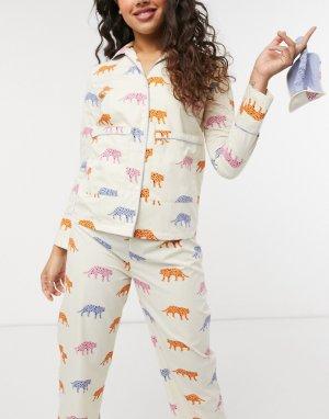 Пижамный комплект из рубашки с длинным рукавом, штанов и маски для глаз принтом в виде тигров -Многоцветный Daisy Street
