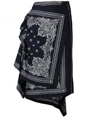 Юбка с запахом в стиле банданы Sacai. Цвет: синий