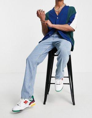 Синие выбеленные джинсы прямого кроя с рваной отделкой -Голубой ASOS DESIGN
