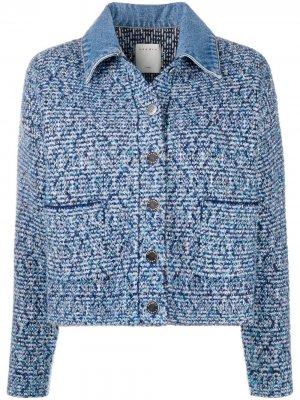 Твидовая куртка с джинсовым воротником Sandro Paris. Цвет: синий