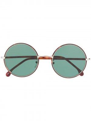 Солнцезащитные очки Alford в круглой оправе Paul Smith. Цвет: коричневый