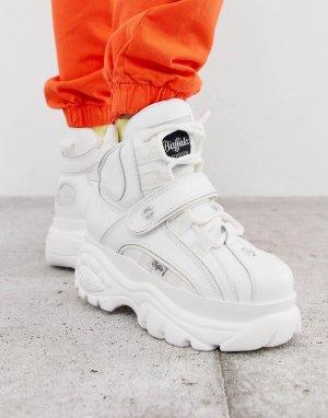 Белые высокие кроссовки на платформе London-Белый Buffalo