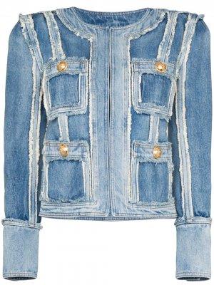 Структурированная джинсовая куртка в технике пэчворк Balmain. Цвет: синий