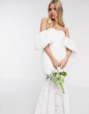 Кружевное свадебное платье с открытыми плечами -Белый ASOS EDITION