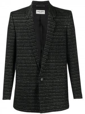 Однобортный пиджак в клетку Saint Laurent. Цвет: черный