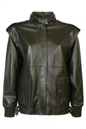 Зеленая кожаная куртка Alberta Ferretti. Цвет: зеленый