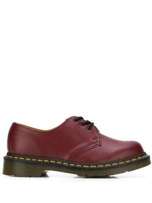 Оксфорды на шнуровке Dr. Martens. Цвет: красный