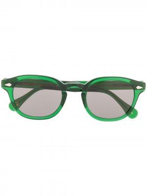 Солнцезащитные очки Lemtosh в круглой оправе Moscot. Цвет: зеленый