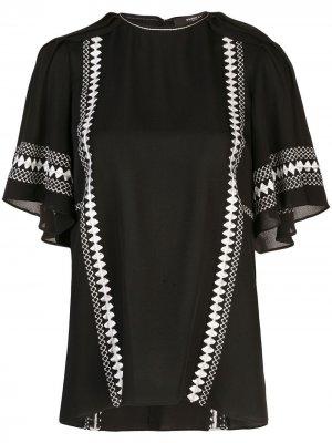 Блузка с вышивкой на рукавах Derek Lam. Цвет: черный
