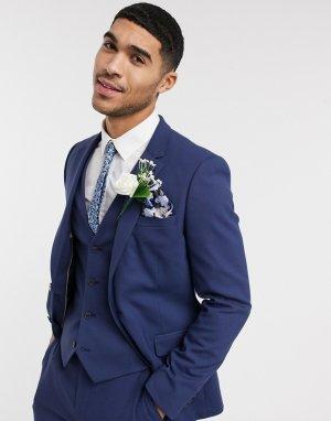 Приталенный пиджак цвета индиго wedding-Темно-синий ASOS DESIGN