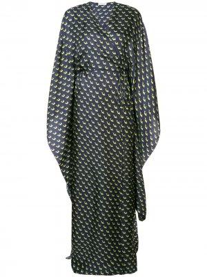 Платье макси с запахом и принтом Vionnet. Цвет: синий