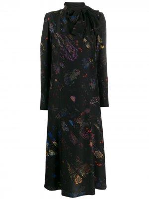 Платье макси с графичным принтом A.F.Vandevorst. Цвет: черный