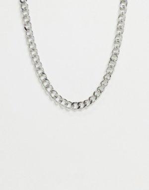 Серебристое ожерелье-цепочка с крупными звеньями -Серебристый Pieces