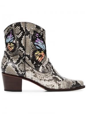 Ковбойские ботинки Shelby 50 со змеиным принтом Sophia Webster. Цвет: коричневый